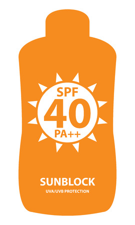 sunblock: Orange SPF 40 Pa++ Sunblock UVAUVB Protection Container Icon or Label Isolated on White Background Stock Photo