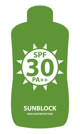 sunblock: Green SPF 30 Pa++ Sunblock UVAUVB Protection Container Icon or Label Isolated on White Background