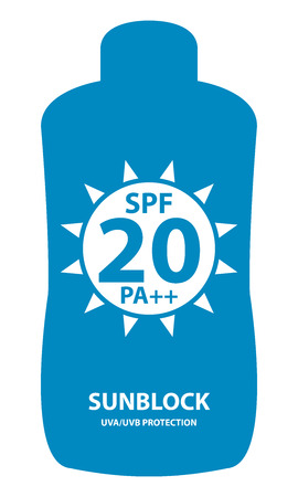 sunblock: Blue SPF 20 Pa++ Sunblock UVAUVB Protection Container Icon or Label Isolated on White Background