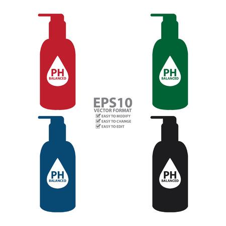balanced: Colorful PH Balanced Lotion Bottle Icon or Label Isolated on White Background