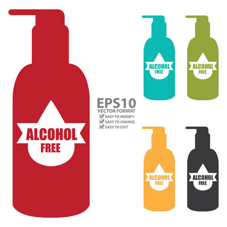 odors: Colorful Alcohol Free Icon, Label or Cosmetic Container Isolated on White Background