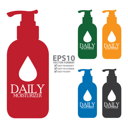 anti age: Colorful Daily Moisturizer Lotion Bottle Icon or Label Isolated on White Background