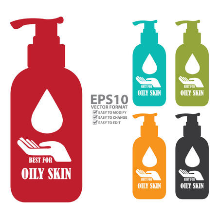 oily: Colorful Best For Oily Skin Icon, Label or Cosmetic Container Isolated on White Background