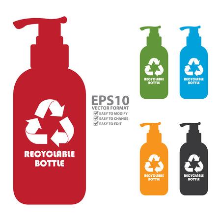 mundo contaminado: Colorido icono de la botella reciclable, señal o etiqueta de aislados en fondo blanco