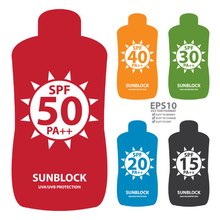sunblock: Colorful SPF 15-50 Pa   Sunblock UVAUVB Protection Container Icon or Label Isolated on White Background Illustration