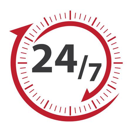 흰색 배경에 고립 된 고객 서비스, 지원, 콜 센터 또는 CRM 개념에 대 한 빨간색 247 아이콘, 배지, 레이블 또는 스티커 스톡 콘텐츠