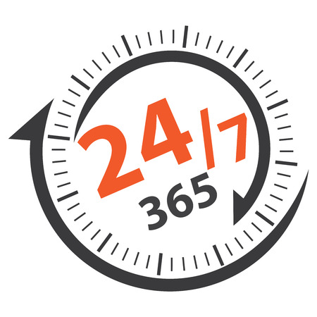 Black 24/7 365 Days Icon, Badge, Label or Sticker for Customer Service, Support, Call Center or CRM Concept Isolated on White Background Reklamní fotografie - 36498593