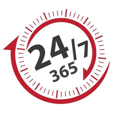 빨간색 247 365 일 아이콘, 배지, 레이블 또는 스티커 고객 서비스, 지원, 호출 센터 또는 CRM 개념에 대한 흰색 배경 절연