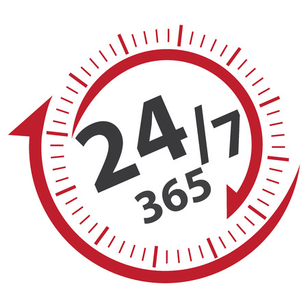 available time: Red 247 365 Days Icon, Badge, Label or Sticker for Customer Service, Support, Call Center or CRM Concept Isolated on White Background