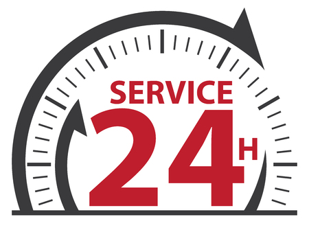 Black Service 24H Icon, Badge, Label or Sticker for Customer Service, Support or CRM Concept Isolated on White Background Reklamní fotografie