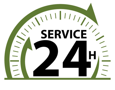 hrs: Green Service 24H Icon, Badge, Label or Sticker for Customer Service, Support or CRM Concept Isolated on White Background