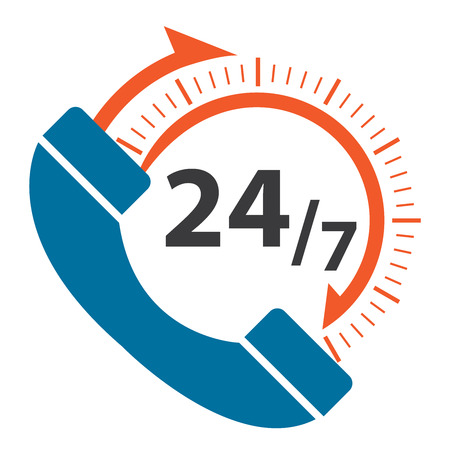 available time: Blue 247 Call Center Icon, Badge, Label or Sticker for Customer Service, Support or CRM Concept Isolated on White Background Stock Photo