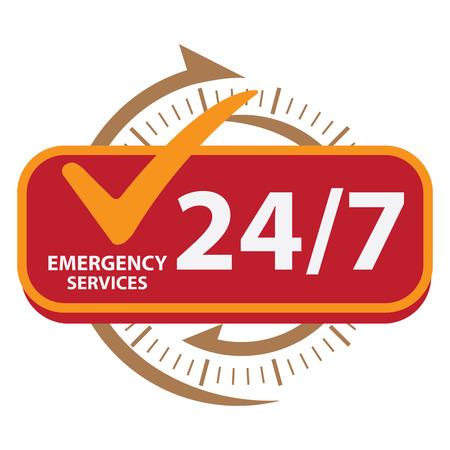 갈색 247 긴급 서비스 아이콘, 배지, 레이블 또는 스티커 고객 서비스, 지원 또는 흰색 배경에 고립 된 CRM 개념