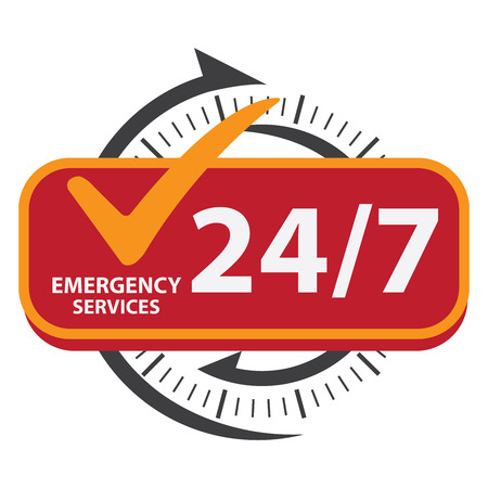 emergency call: Black 247 Emergency Services Icon, Badge, Label or Sticker for Customer Service, Support or CRM Concept Isolated on White Background