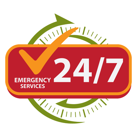 hrs: Green 247 Emergency Services Icon, Badge, Label or Sticker for Customer Service, Support or CRM Concept Isolated on White Background
