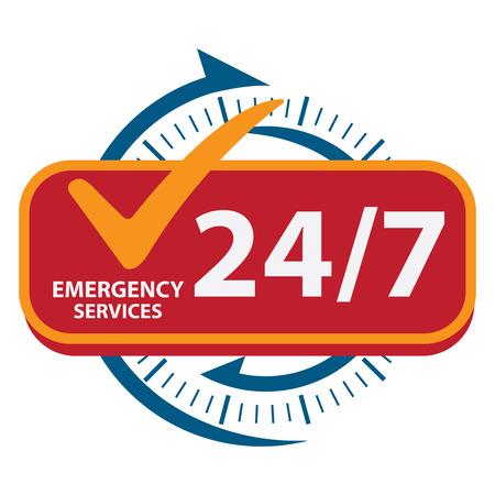 in emergency: Azul 247 Emergency Services Icon, insignia, etiqueta o pegatina para el servicio al cliente, soporte o CRM concepto aislado en fondo blanco