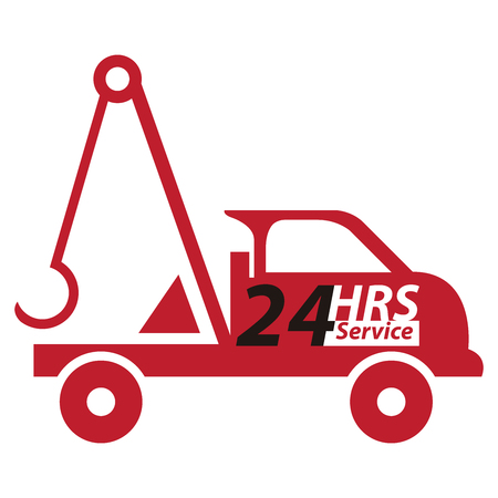 tow truck: Red 24 HRS Service Tow Car or Truck Icon, Button, Sticker or Label Isolated on White Background Stock Photo