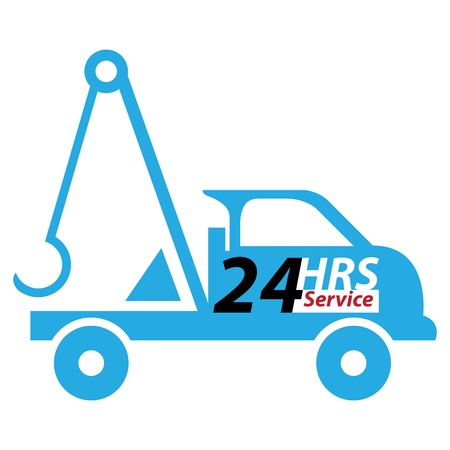 hrs: Blue 24 HRS Service Tow Car or Truck Icon, Button, Sticker or Label Isolated on White Background