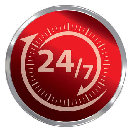 hrs: Red Metallic Style 247 Icon, Button or Label for Work Hour, Customer Service, Support or CRM Concept Isolated on White Background Stock Photo