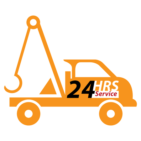 car on road: Orange 24 HRS Service Tow Car or Truck Icon, Button, Sticker or Label Isolated on White Background Stock Photo