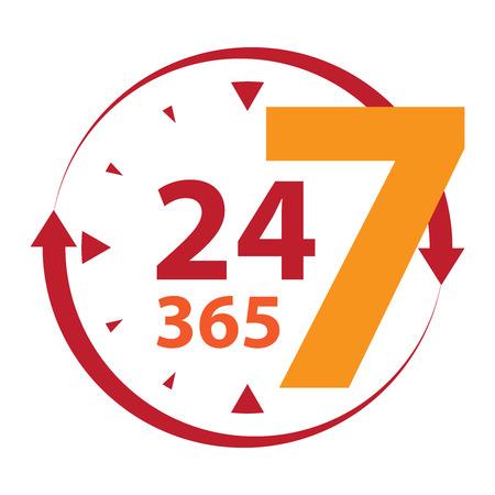 Rood 24 7 365 met klok en Pijlbord Icoon of label geïsoleerd op witte achtergrond