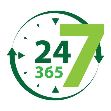Green 24 7 365 met klok en Pijlbord pictogram of label geïsoleerd op een witte achtergrond