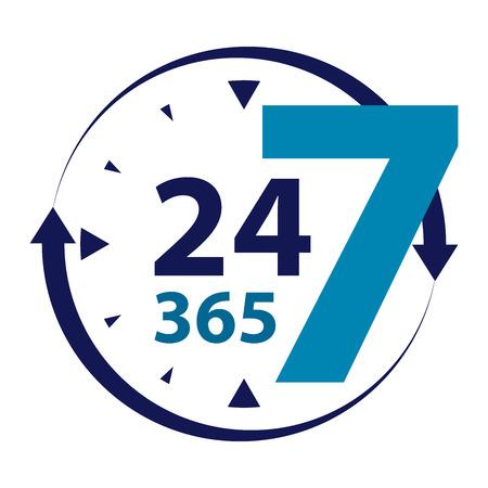 Blue 24 7 365 met klok en Pijlbord Icoon of label geïsoleerd op witte achtergrond