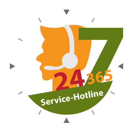 hrs: Green Call Center Sign With Colorful 24 Hours A Day, 7 Days A Week, 365 Days A Year Service-Hotline Label, Sign or Icon Isolated on White Background