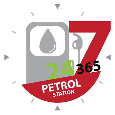 hrs: Red Gasoline Station or Petrol Station Sign With Colorful 24 Hours A Day, 7 Days A Week, 365 Days A Year Petrol Station Label, Sign or Icon Isolated on White Background Stock Photo