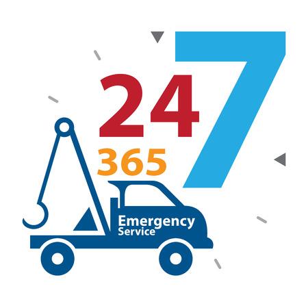 camion grua: Azul Tow Car Con Coloridos 24 horas al d�a, 7 d�as a la semana, 365 d�as al a�o de la etiqueta de servicio de emergencia, signo o icono aisladas sobre fondo blanco