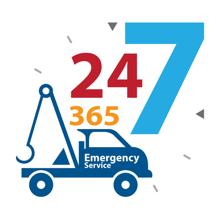 24 7: Blue Tow Car With Colorful 24 Hours A Day, 7 Days A Week, 365 Days A Year Emergency Service Label, Sign or Icon Isolated on White Background