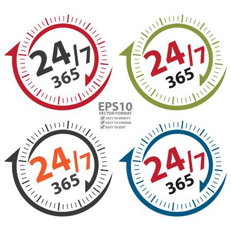 247 365 dagen Icoon, Badge, label of sticker voor Customer Service, ondersteuning, Call Center of CRM concept geïsoleerd op witte achtergrond Stock Illustratie