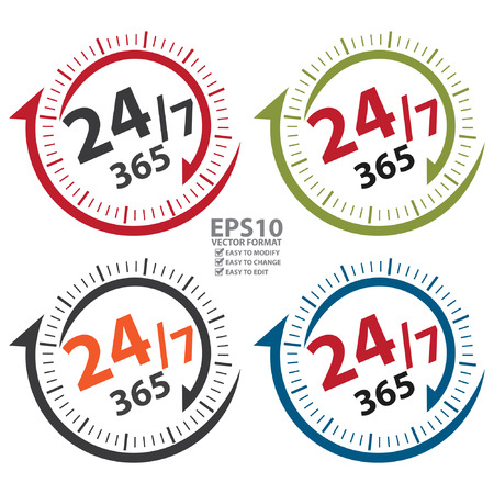 hrs: 247 365 Days Icon, Badge, Label or Sticker for Customer Service, Support, Call Center or CRM Concept Isolated on White Background