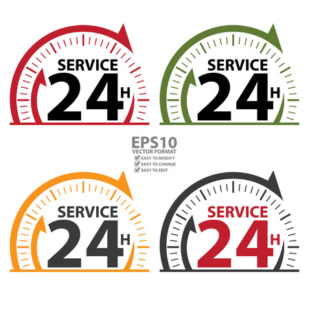 Service 24H Icon, Badge, Label or Sticker for Customer Service, Support or CRM Concept Isolated on White Background Ilustrace