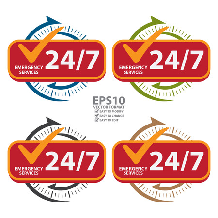 カラフルな 247 緊急サービス アイコン、バッジ、ラベルまたはカスタマー サービスやサポート、CRM の概念の白い背景で隔離のステッカー  イラスト・ベクター素材