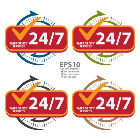 Kleurrijke 247 Emergency Services Icon, Badge, label of sticker voor Customer Service, ondersteuning of CRM concept geïsoleerd op witte achtergrond Stock Illustratie