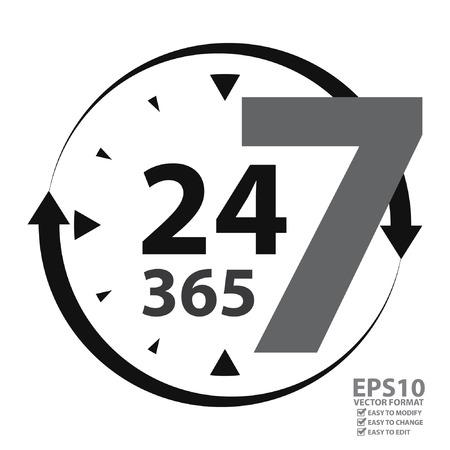 Gray 24 7 365 met klok en Pijlbord pictogram of label geïsoleerd op een witte achtergrond
