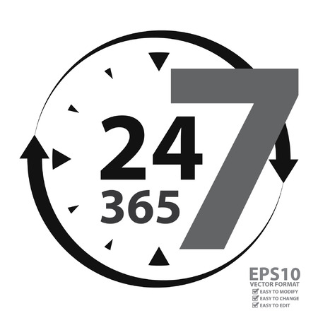 available time: Gray 24 7 365 With Clock and Arrow Sign Icon or Label Isolated on White Background