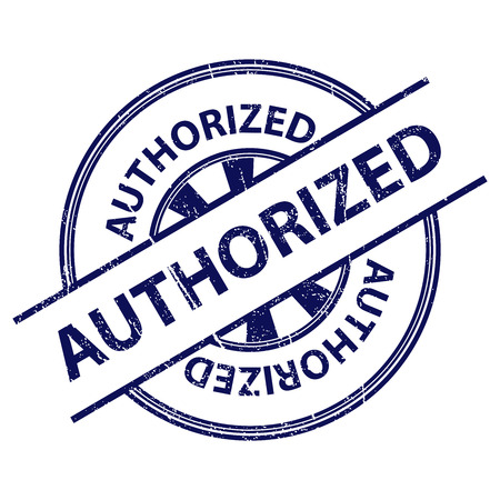 allowed to pass: Blue Grunge Style Authorized Icon, Badge, Label or Sticker for Quality Management Systems, Quality Assurance and Quality Control Concept Isolated on White Background Stock Photo