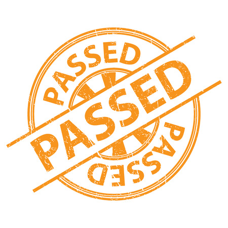 acceptable: Orange Grunge Style Passed Icon, Badge, Label or Sticker for Quality Management Systems, Quality Assurance and Quality Control Concept Isolated on White Background Stock Photo