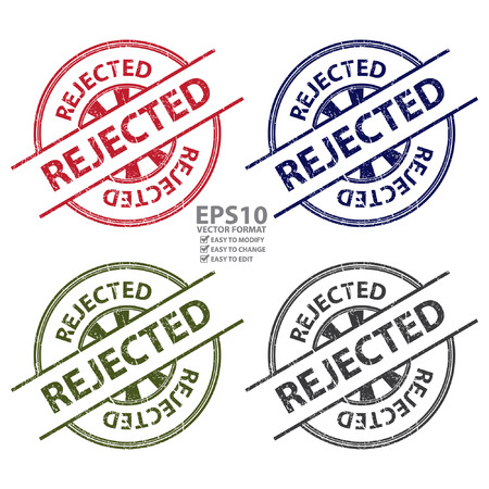 acceptation: Colorful Grungy Style Rejected Icon, Label or Sticker Isolated on White Background Illustration
