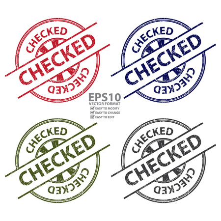 allowed to pass: Colorful Grungy Style Checked Icon, Label or Sticker Isolated on White Background