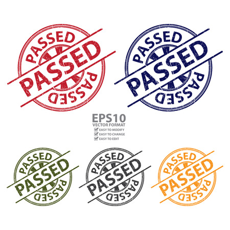 qc: Colorful Grunge Style Passed Icon, Badge, Label or Sticker for Quality Management Systems, Quality Assurance and Quality Control Concept Isolated on White Background Illustration