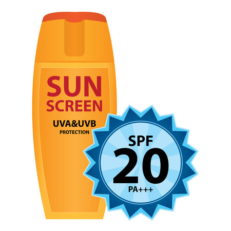 uva: Orange Sunscreen UVA and UVB Protection Container With SPF 20 PA+++ Isolated on White Background