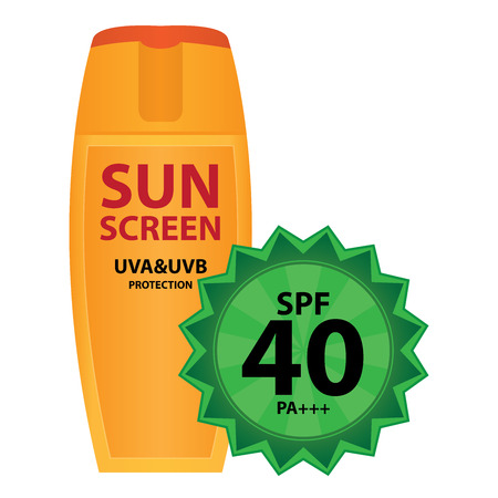 uva: Orange Sunscreen UVA and UVB Protection Container With SPF 40 PA+++ Isolated on White Background Stock Photo