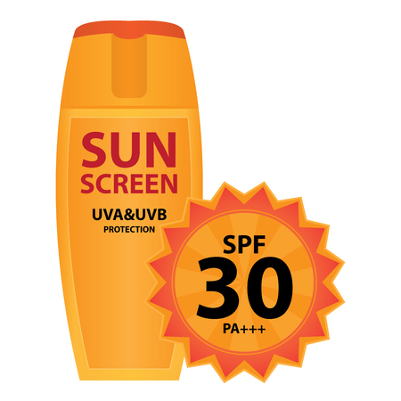 uva: Orange Sunscreen UVA and UVB Protection Container With SPF 30 PA+++ Isolated on White Background Stock Photo