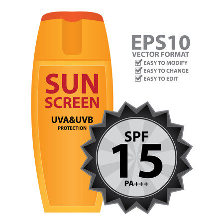 skin burns: Orange Sunscreen UVA and UVB Protection Container With SPF 15 PA    Isolated on White Background