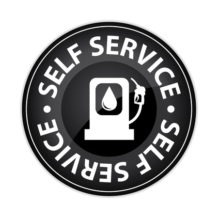 purchasing power: Black Glossy Style Circle Self Service Gasoline Station Icon, Button, Sticker or Label Isolated on White Background