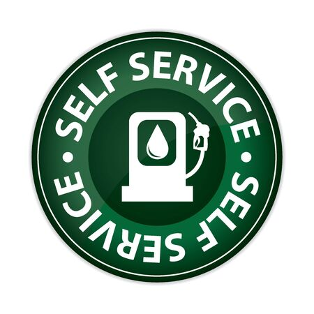 purchasing power: Green Glossy Style Circle Self Service Gasoline Station Icon, Button, Sticker or Label Isolated on White Background