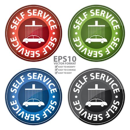 autolavaggio: Rosso, verde, blu e nero lucido stile Circle Self Service Car Wash Stazione di Icona, Button, Sticker o etichetta isolato su sfondo bianco